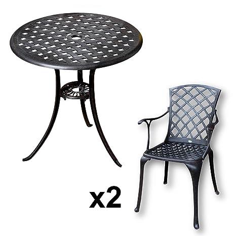 Lazy Susan - BETTY Bistrotisch mit 2 Stuhlen - Rundes Gartenmöbel Set aus Metall, Antik Bronze (EMMA Stuhle)