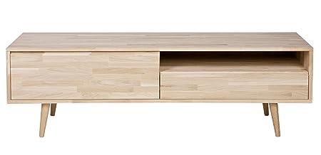 Meuble TV en chêne massif avec tiroir - Dim : H 47 x L 150 x P 44 cm -PEGANE-