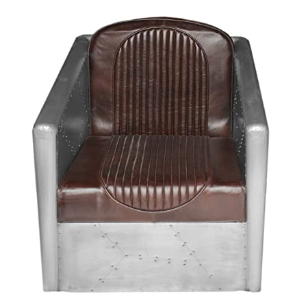 ESSENTIAL'S AVIATOR ALUMINIUM ARM CHAIR WITH LEATHER UPHOLESTRY