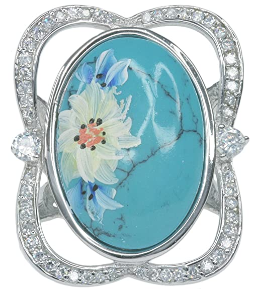 Cubic Zirconia Sparkling Hand Painted Sterling Silver Ring