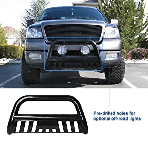 AUTOSAVER88 Bull Bar Compatible for 04-18 Ford F150 Stainless Chrome Bull Bar 3 Push Front Bumper Grill Grille Guard with Skid Plate