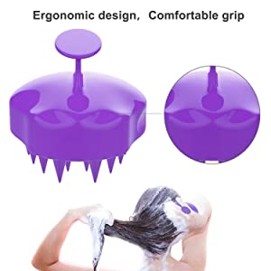 Shampoo Brush Hair Scalp Massager, FReatech [Wet & Dry] Hair Scalp Massage Brush Soft Silicone Comb for Men, Women, Kids and Pets - Purple (Color: Purple)