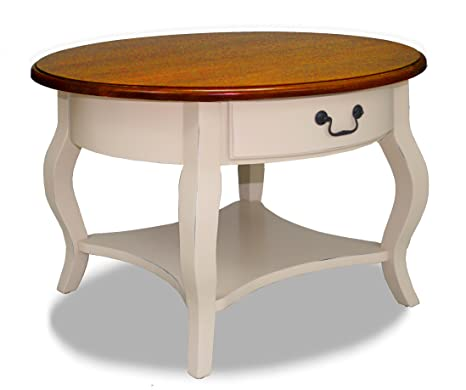 Leick French Countryside Round Storage Coffee Table, Ivory