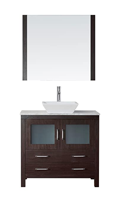 Virtu USA KS-70030-WM-ES Modern 30-Inch Single Sink Bathroom Vanity Set with Polished Chrome Faucet, Espresso