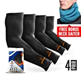 ARMORAY Arm Sleeves for Men or Women - Compression Warmers to Cover Tattoo - For Basketball Golf Running Football Cycling or Sun Protection (Black 4 Pair) (Color: Black, Tamaño: 4 Pair)