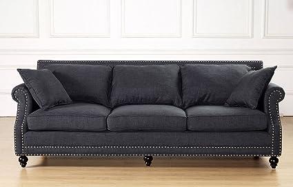 TOV Furniture Camden Linen Sofa, Grey