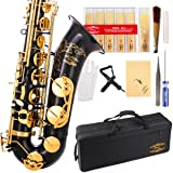 Glory Black/Gold B Flat Tenor Saxophone with Case,10pc Reeds,Mouth Piece,Screw Driver,Nipper. A pair of gloves, Soft Cleaning Cloth. (Color: black)