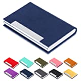 Business Card Holder Business Card Case - JuneLsy Luxury PU Leather and Stainless Steel Metal Card Holder for Women with Magnetic Shut Keep Business Cards Clean (Blue-7)