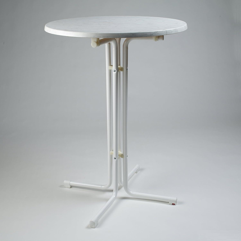 Fritz Müller Gartentisch Stehtisch 80 cm Gestell weiß/Platte marmor bianco kaufen