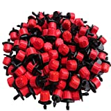 Korty 100pcs 360 Degree Adjustable Irrigation Drippers Sprinklers Emitters Drip Watering System for Flower beds, Vegetable Gardens, Lawn, Herbs Gardens