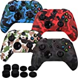 MXRC Silicone rubber cover skin case anti-slip Water Transfer Customize Camouflage for Xbox One/S/X controller x 4(black & white & red & blue) + FPS PRO extra height thumb grips x 8