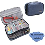 Luxja Sewing Accessories Organizer, Double-Layer Sewing Supplies Organizer for Needles, Scissors, Measuring Tape, Thread and Other Sewing Tools (NO Accessories Included), Large/Dark Blue (Color: Dark Blue, Tamaño: Large)