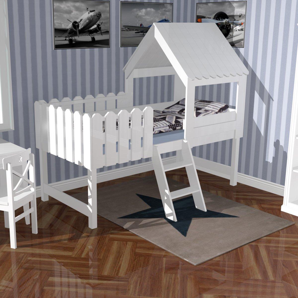 Spielbett | Abenteuerbett | Hochbett BAUMHAUS, Massivholz, weiß, inkl. Lattenrost, 90x200cm kaufen