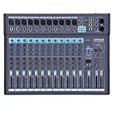 ammoon 12-Channel Mixing Console Mixer Built-in 16 DSP Effects +48V Phantom Power Supports with Power Adapter for Studio Recording Network Live Broadcast DJ Karaoke (Tamaño: new 12 channels)