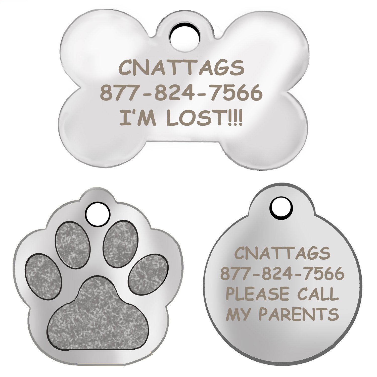 Stainless Steel | Dog Tags Pet Tags Engraved | Many Shapes to Choose From| by CNATTAGS (LIFE TIME WARRANTY)