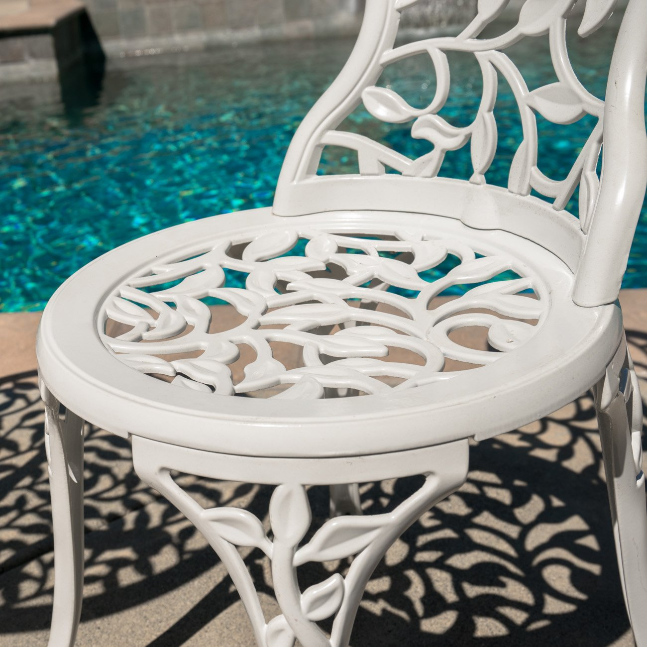 Belleze Outdoor Patio Furniture Leaf Design Bistro Set in Antique White 4
