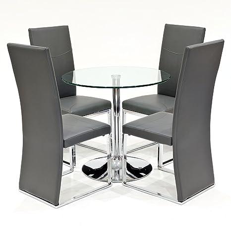Klar Glas rund Esstisch mit 4x grau Anderson Kunstleder Esszimmerstuhle