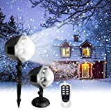 Snowfall LED Light Projector,Christmas Rotating Snowflake Projector Lamp with Remote Control,Snow Effect Spotlight for Garden Ballroom, Party,Halloween,Holiday Landscape Decorative (White) (Color: White)