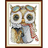 Joy Sunday Stamped Cross Stitch Kits, Cute Owl Cross-Stitch Sets 11CT Kit Pattern Beginners (Color: 11CT Stamped kit,Cute owl)