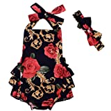 LOliSWan Baby Girl's Floral Print Ruffles Romper Summer Clothes With Headband (Black, 0-6 Months) (Color: Black, Tamaño: 0 - 6 Months)
