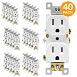 ENERLITES Duplex Receptacle Outlet, Tamper-Resistant, Residential Grade, 3-Wire, Self-Grounding, 2-Pole,15A 125V, UL Listed, 61580-TR-W-40PCS, White (40 Pack) (Color: White 40 Pack, Tamaño: 40 Pack)