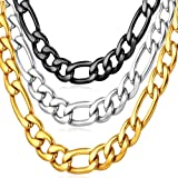 U7 Chunky Necklace Men Hip Hop Jewelry Necklace Wear Alone or with Pendant, 18K Gold Plated Stainless Steel 9mm French Figaro Chain 26