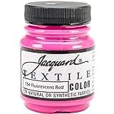 Jacquard Textile Color Fabric Paint, 2.25-Ounce, Fluorescent Red (Color: Fluorescent Red, Tamaño: 2.25oz)