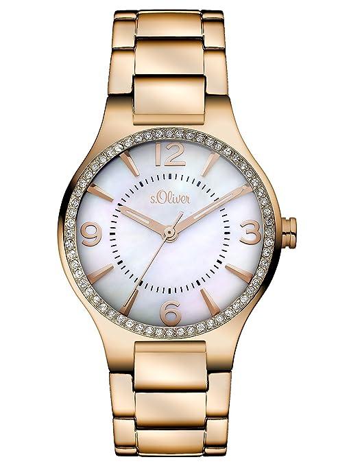s.Oliver SO-2843-MQ - Reloj analógico de cuarzo para mujer, correa de acero inoxidable color oro rosa