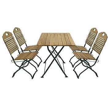 Garnitur BAD TÖLZ 5-teilig grun klappbar / 4x Stuhl, 1x Tisch, Robinienholz, Flachgestell pulverbeschichtet