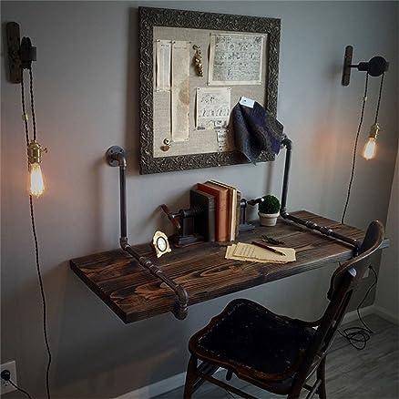 QIANGDA Bookdesk In Legno Scaffale A Muro Tavolo Scaffali Galleggianti Stile Industriale Vintage, 3 Dimensioni Opzionale ( dimensioni : 120 x 50 x 3cm )
