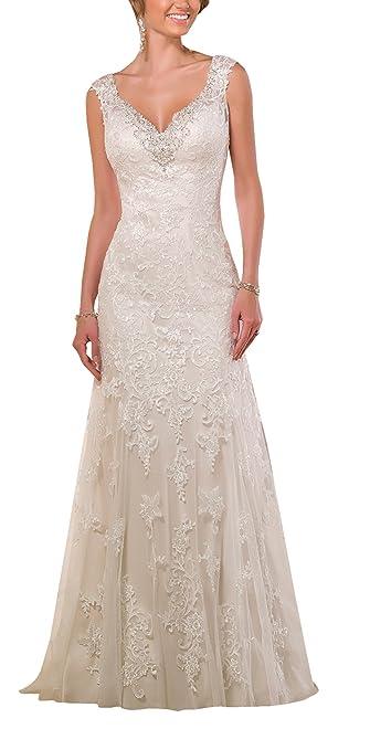 Harshori Sweetheart Neckline Lace Tulle Over Satin Wedding Dress