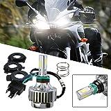 1pcs H4 Super Bright 6000k 3000lm 32w Dc12v Led Lamp DRL Fog Light LED Motorcycle Headlight Bulb for KTM Honda (Color: Black)
