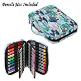 BTSKY Portable Colored Pencil Case - Colored Pencil Organizer Holds 166 Pencils or 112 Gel Pens Large Capacity Zippered Pencil Holder Gel pens (Cactus) (Color: Cactus)