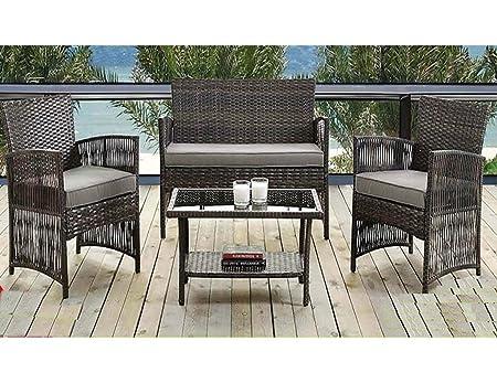 Madrid 4 piezas Diseño cilíndrico de invernadero de jardín muebles de ratán resistente al agua para sofá cojín silla mesa al aire libre juego de Contemporary Living Garden Summer comodidad diseño cil&iacute