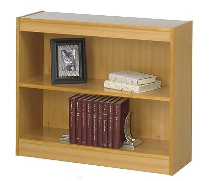 2-Shelf Reinforced Square-Edge Veneer Bookcase Medium Oak
