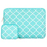 MOSISO Laptop Sleeve Bag Compatible 13-13.3 Inch MacBook Pro, MacBook Air, Notebook with Small Case, Quatrefoil Style Canvas Fabric Protective Carrying Cover, Hot Blue (Color: Hot Blue, Tamaño: 13-13.3 Inch)
