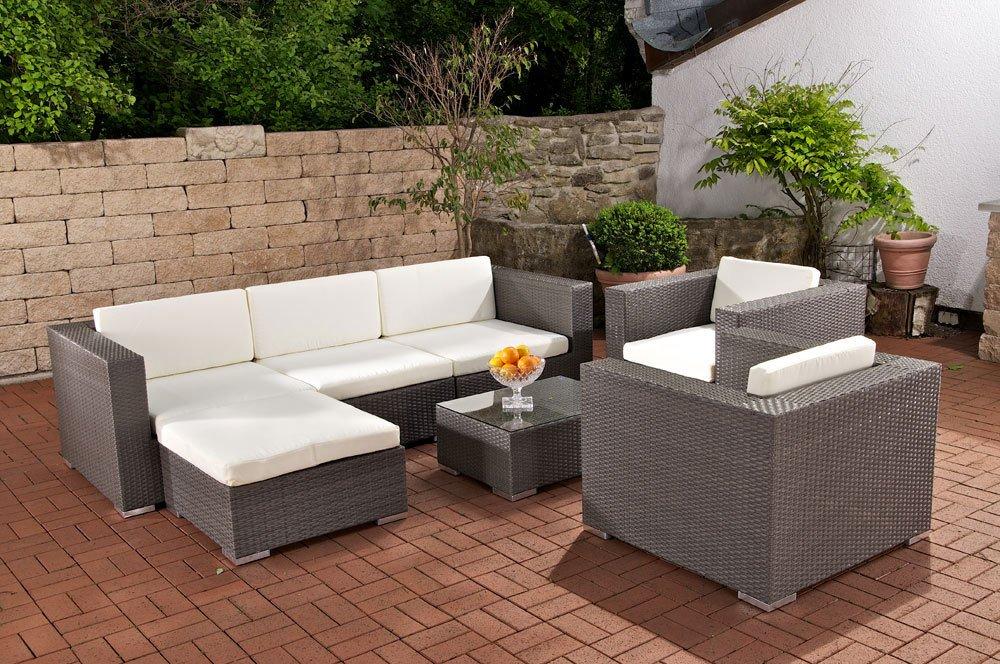 CLP XL Gartengarnitur 3-1-1 aus Polyrattan & Aluminium, inkl. 6 cm dicken Sitz- & Rückenkissen (aus bis zu 4 Rattan-Farben wählen) grau