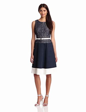 Anne Klein Women's Belted Lace Dress, Navy, 4