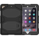 iPad 9.7 2018/2017 Case, ZERMU Heavy Duty Shockproof Rugged Cover Three Layer Hard PC+Silicone Hybrid Impact Resistant Armor Defender Full Body Protective Case with Kickstand for iPad 6th Generation (Color: Black)