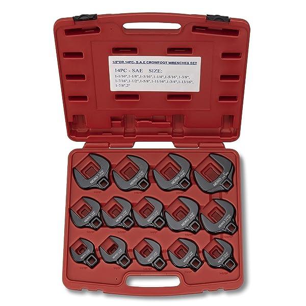 Neiko 03325A 1/2 Drive Jumbo Crowfoot Wrench Set, SAE, 1-1/16 to 2-Inch | 14-Piece Set, Cr-Mo Steel