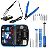 SIKIWIND Soldering Iron Kit Adjustable Temperature Welding Tool with ON-OFF Switch, [Upgraded] 60W with Carry Bag,2pcs Soldering Iron Tips,8-in-1 Screwdrivers,Wire Cutter,Tweezers,Soldering Iron Stand (Color: Blue)
