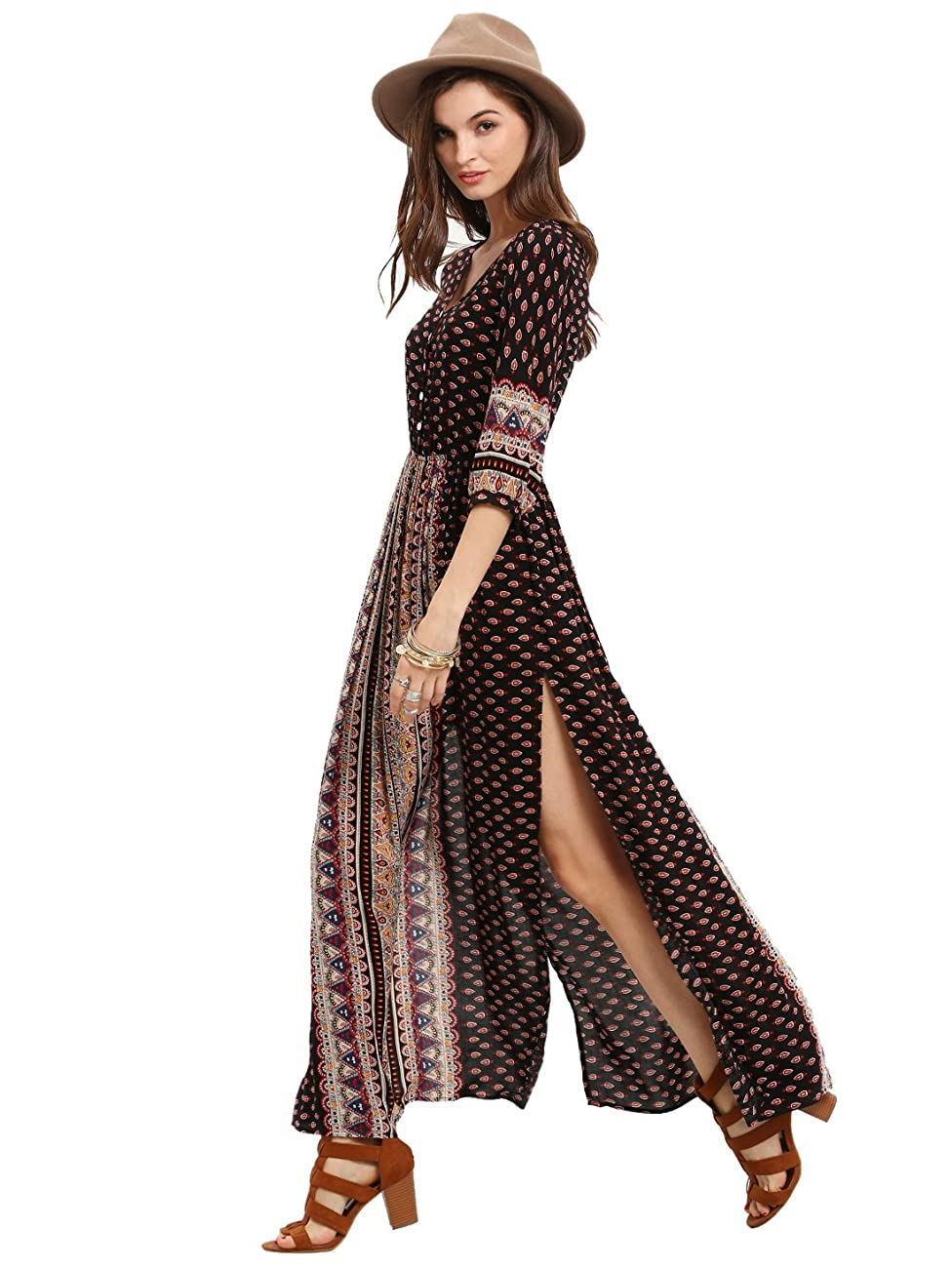 ROMWE Women's Summer Casual Half Sleeve Vintage Print Split Maxi Dress 0
