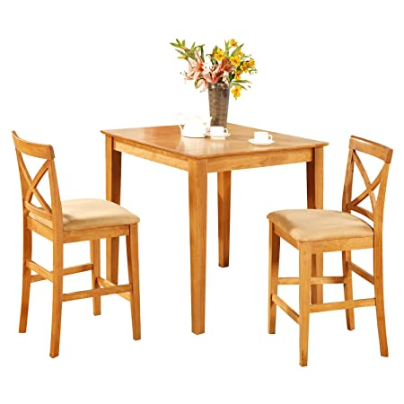 East West Furniture PUBS3-OAK-C 3-Piece Gathering Table Set, Oak Finish