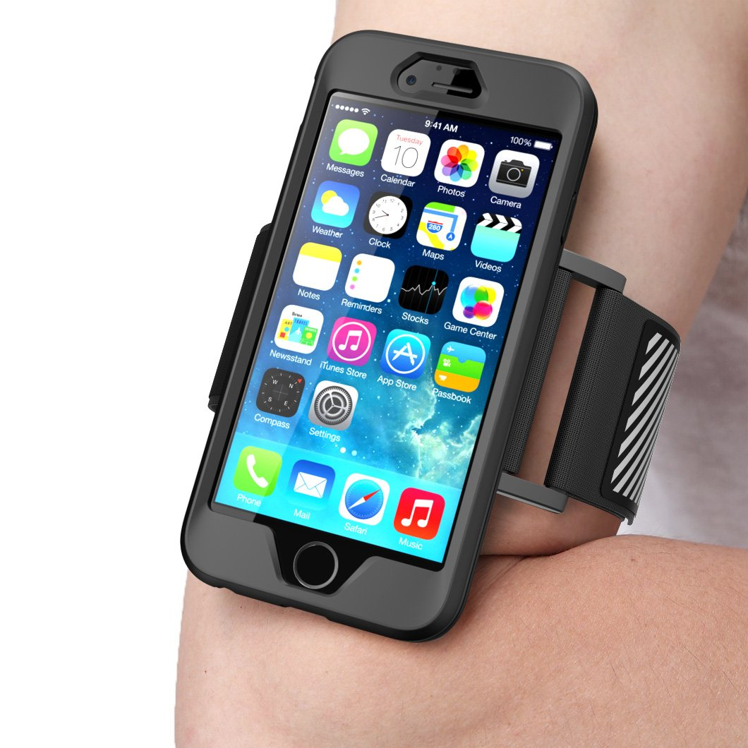 iPhone 6 Plus Armband , SUPCASE **SPORT RUNNING** Apple iPhone 6 Plus Armband 5.5 inch Easy Fitting Sport Running Armband with Premium Flexible Case Combo for iPhone 6 Plus Cover (Black), Not Fit iPhone 6 4.7 inch