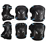 PyLios - 6pcs/1 Set Protector Kids Adult Skating Scooter Elbow Knee Wrist Safety Pads Gear Set[ Black and Blue-L ] (Color: Black&Blue-L)