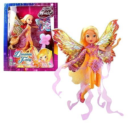 World of Winx - Dreamix Fairy - Stella Poupée 28cm avec Robe Magique