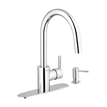 GROHE 30126000 Feel Kitchen Pull Down Chrome Value Pack (Includes Soap Dispenser and 10 Inch Cover Plate),