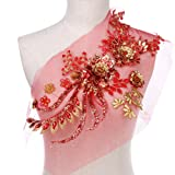 Large Sequins Peony Floral Beaded Lace Applique Feepop Costume Lace Trim Embroidered Bridal Dress Sewing Lace Motifs Gold Red (Color: red)