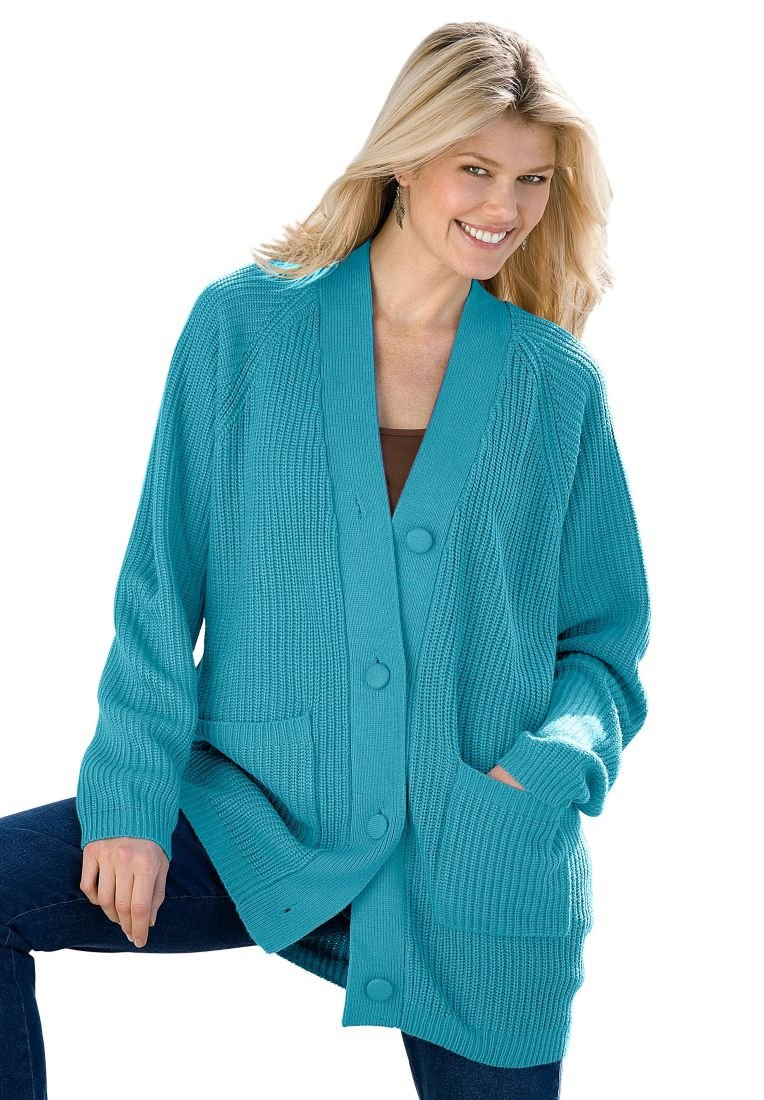 Woman Within Plus Size Shaker knit cardigan