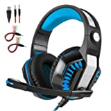 Professional Gaming Headphones USB with Microphone LED Light Stereo Sound Over-the-Ear Computer Headset for xbox one/ps4/iphone Noise cancelling Comfortable Earphones for PC Gamer. (Color: Blue, Tamaño: Medium)